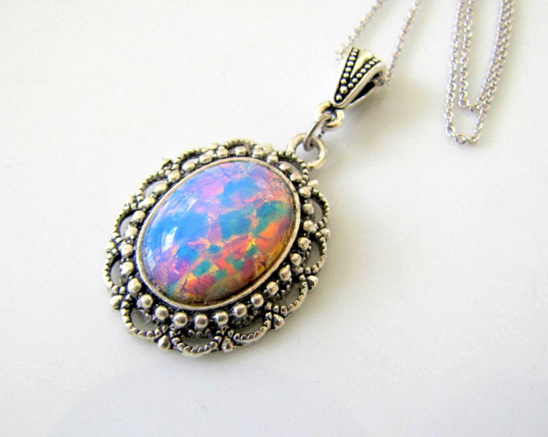 vintage harlequin opal necklace opal jewelry by twigsandlace