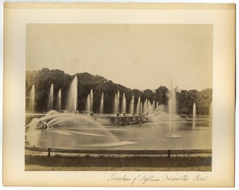 Fountain of Neptune, Versailles, Paris - 19th Century Albumen Photograph