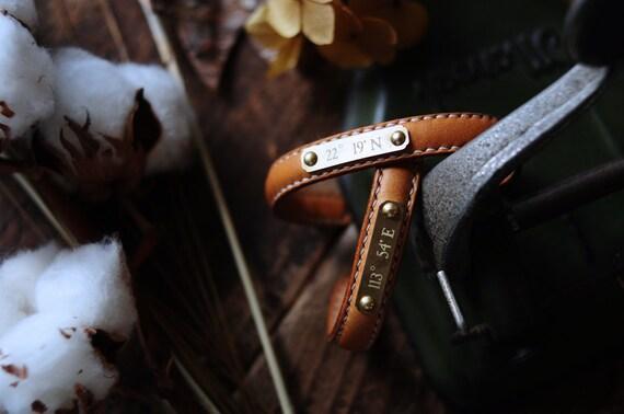 Artemis Leatherware Hand Stitched Dark Brown Leather Bangle/ Bracelet Personalize Custom
