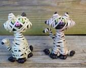 Mummy Cat Halloween Polymer Clay Sculpture