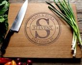 Trajan Stamp Monogram - Personalized Cutting Board, Engraved Cutting Board, Personalized Wedding Gift, Housewarming Gift, Anniversary Gift