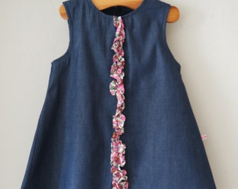 REDUCED - Chambray and Pink Liberty Print Dress Age 1-2