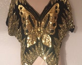 Beautiful Black and Gold Sequins Silk Butterfly Vintag Top Free Shipping
