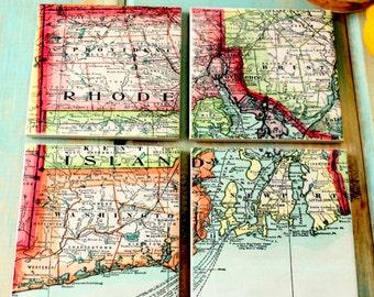 Vintage Rhode Island Map Coasters - set of 4