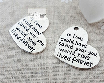 Bulksale-if love could have saved you-heart charms 50 pcs-T1062