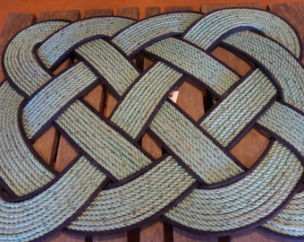 Green & Navy Blue Doormat Knotted Recycled Rope 30 x 20 Door Mat Rope Rug