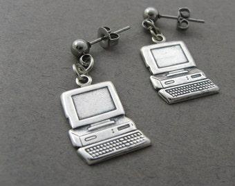 Computer Earrings - Techie Jewelry -  Geekery for Old School Engineers, Writers, Teachers