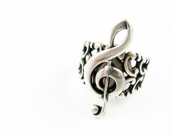 Musical Ring - Treble Clef Statement Ring (Adjustable Ring - Size 8.5 Shown) for Musician, Orchestra Gift