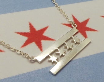 Silver Chicago Flag Necklace - Flag Jewelry - Pride Necklace - Star Necklace - Home Pride Necklace - Best Friend Necklace - Friendship Gift