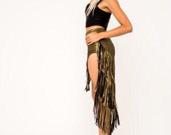 Gold Skirt- Fringe Skirt- Belly Dance Skirt- Burning Man- Festival Gear