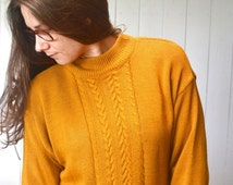 Mustard Knit Sweater 1980s Vintage Twin Peaks Womens Cable Knit Pullover