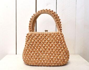 Wood Beaded Handbag, 1960s Vintage Bag, Hippie Boho Bag, Top Handle Purse