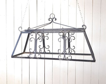 Wrought Iron Light Fixture 1950s Black Metal Pot Rack Vintage Mid Century Decor