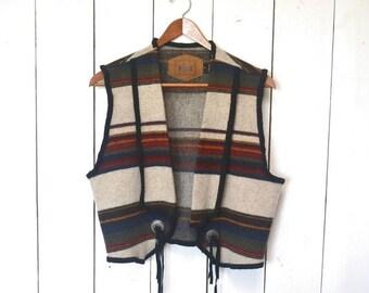 Wool Blanket Vest Cropped Navajo Southwest Striped Early 90s Vintage Waistcoat Medium
