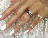 Cute little Abalone Sterling Silver Midi Rings as is or Personalized with Initial Monogrammed Ring with up to 3 Custom Mini Charms