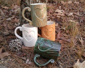 On Sale Tree Carved Wood Grain Mug for Lovers Personalize for Valentine's Day Handmade Ceramic from my Charleston, SC Studio