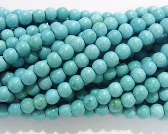 "4mm/ 6mm/8mm/10mm/12mm Magnesite Beads Round Light Blue Synthetic Semiprecious Gemstone 15""L"
