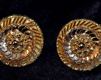 Vintage Handmade Gold Sequence and Bead Button Earrings