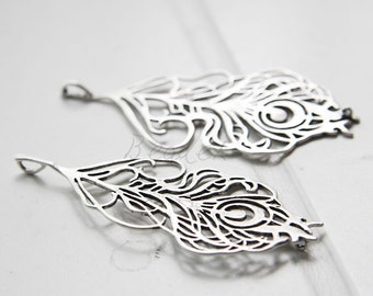 One Piece / Feather / Oxidized Silver Plated / Real Silver / Brass Base / Pendant (Z7673//J533A)