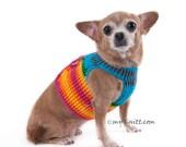 Rainbow Dog Harness Vest Velcro Choke Free Puppy Collar Cat Chihuahua Dachshund Crochet Handmade DH45 Myknitt - Free Shipping