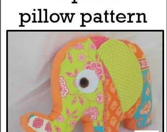 Baby Toy Tutorial, Elephant Sewing PATTERN, Instant download, Intermediate, Soft Toy, Elephant Plush, Elephant Pillow, Julieta the Elephant