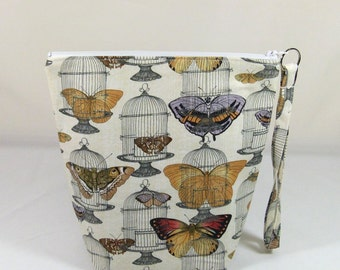 Knitting Project Bag - Small Zipper Wedge Bag in Butterflies and Birdcages with Gray and Gold Cotton Lining