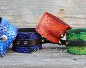 Leather Cuff with Dragon Scales, Fun Fantasy GIft, Great for LARP Cosplay Costume Renfaire