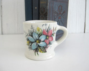 Vintage Ceramic Mug Coffee Tea Cup Floral Design Newport Pottery LTD Hotel Restaurant Ware Blue Pink Yellow Flowers England 1920s 1930s