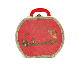 Vintage Children's Suitcase Round Red Doll Clothes Case Bambi Thumper Walt Disney Mid Century Cardboard Toy Neevel Rustic Children Decor