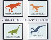 Toddlers room decor, DINOSAUR prints, boys wall art. Set of 4, Dinosaur, Jurassic prints, nursery decor, kids rooms, playrooms