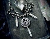 Witch Briar Necklace, pagan necklace, pentagram necklace, wiccan jewelry, wicca, fantasy jewelry, witchcraft, pagan jewelry, aura quartz