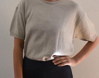 Cream Short Sleeve Knit Top