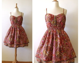Vintage Cotton Sundress with Lace / Floral Spaghetti Strap Summer Dress / Size XL