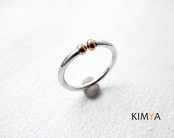 Simple Silver Ring - Silver Copper Ring - Adjustable Silver Ring - Little Balls Silver Ring - Modern Silver Wire Ring - Handmade Jewelry