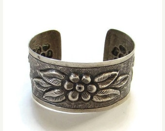 ON SALE Old Arts and Crafts Movement Era Cuff Bracelet Sterling Silver Repousse Floral Design