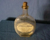 Jamaica Ginger Flask Bottle Pumpkin Seed Antique Druggist Drug Store Medicine Medicinal early 1900s Vintage Cork Top
