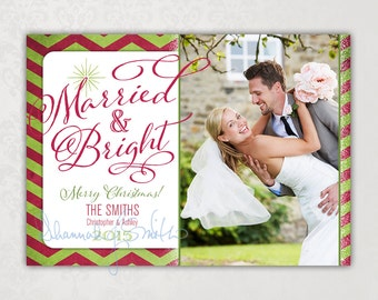 Print Your Own Newlywed Christmas Card • Married & Bright Photo Card • Print Your Own Photo Holiday Card