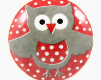 Little red owl knob 4cm RED016