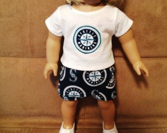 18 inch doll (modeled by American Girl) Seattle Mariners shirt and skort set