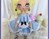 Alice in Wonderland Inspired Art  Doll by Lesley Jane Dolls