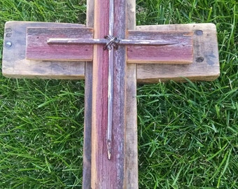 Rustic Reclaimed Wood Layered Wooden Cross with Nail Cross Overlay...Unique Handmade...Great Gift Idea..Wedding..Primitive....Barnwood