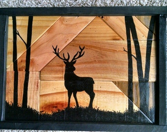 Rustic Hand Painted Deer Silhouette on Reclaimed Wood Panel...Great Gift Idea...One of a Kind Piece...Hand Made in Minnesota...Primitive