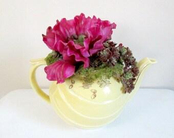 Teapot Succulent Flower Arrangement // Hall Pottery Repurpose