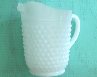 Hobnail Milk Glass Pitcher // Mid Century Shabby Cottage Chic Home