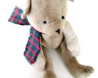 Antique Vintage Stuffed Teddy Bear // Handmade Tea Stained Muslin Articulated Doll