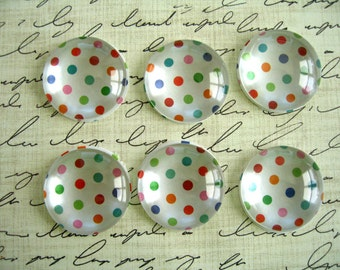 Green Red Pink Dot Round Glass Magnet, Green White Red Color Fridge Magnet, Dots Round Magnet - 6 PCS