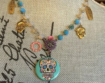 Day of the Dead LOCKET NECKLACE   - Turquoise Crystal - Sugar Skull Charm Jewelry