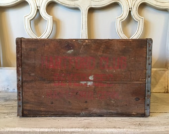 Vintage Rustic Wooden Crate - Hartford Beverages - Distressed Farmhouse Storage