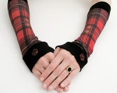Arm Warmers, plaid fingerless gloves, mittens checked