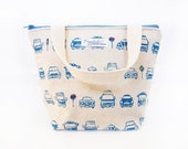 SALE: 30% Off - Insulated Lunch Tote Bag with Waterproof Lining - Blue Cars (Only One Available!)